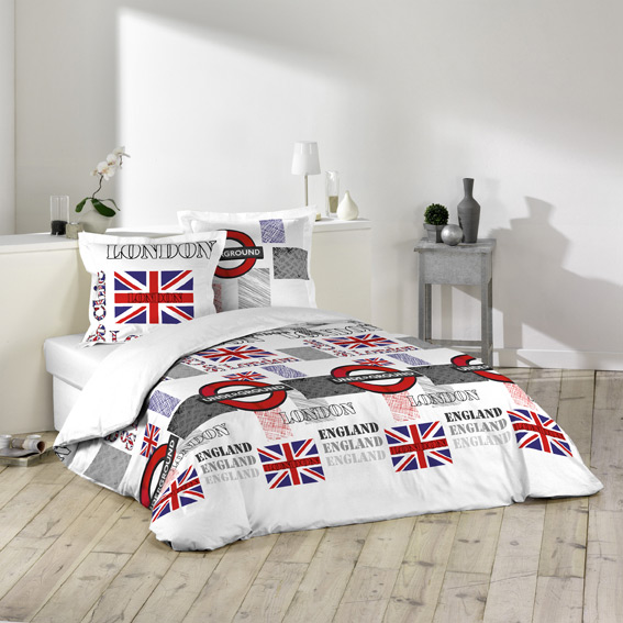 Chambre ado fille d co london union jack masroum for Housse de couette ado fille